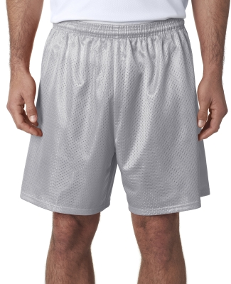 N5293 A4 Adult Lined Tricot Mesh Shorts SILVER