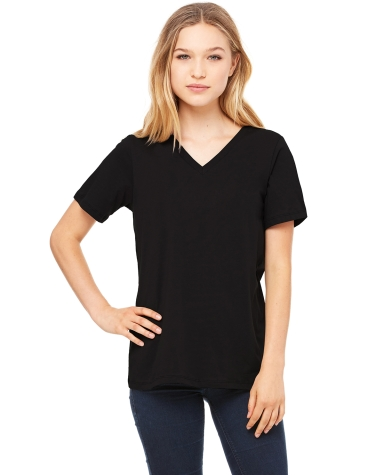 BELLA 6405 Ladies Relaxed V-Neck T-shirt BLACK
