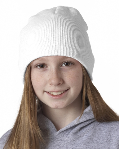8131 UltraClub® Acrylic Knit Beanie WHITE