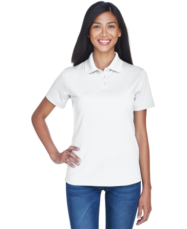 8445L UltraClub Ladies' Cool & Dry Stain-Release Performance Pol WHITE