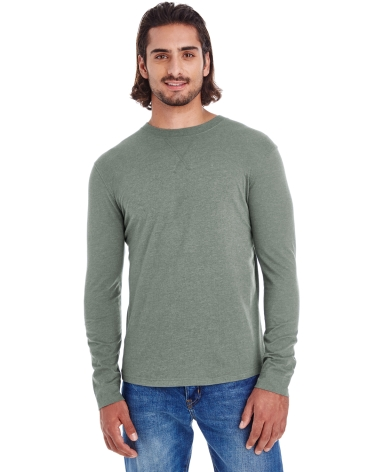 econscious EC1588 Men's Heather Sueded Long Sleeve Jersey ASPARAGUS