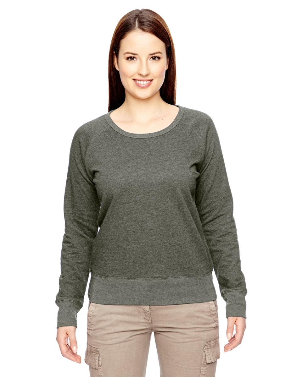 76c2c80a81f637 econscious EC4505 Ladies  7 oz. Organic Recycled Heathered Fleece Raglan  Pullover MILITARY GREEN