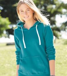J America 8836 Women's Sueded V-Neck Hooded Sweatshirt